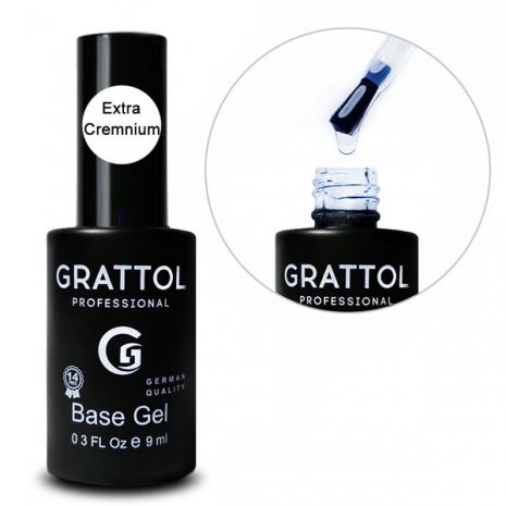 ( 9 мл ) База Каучуковая для гель-лака  EXTRA Cremnium Grattol Rubber Base Gel