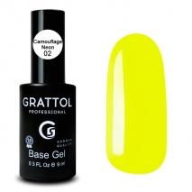 ( 9мл ) База Каучуковая Неоновая №2 для гель-лака Grattol Rubber Base Neon