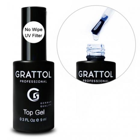 Топ для гель-лака без липкого слоя Grattol No Wipe UV Filter Top Gel, 9мл