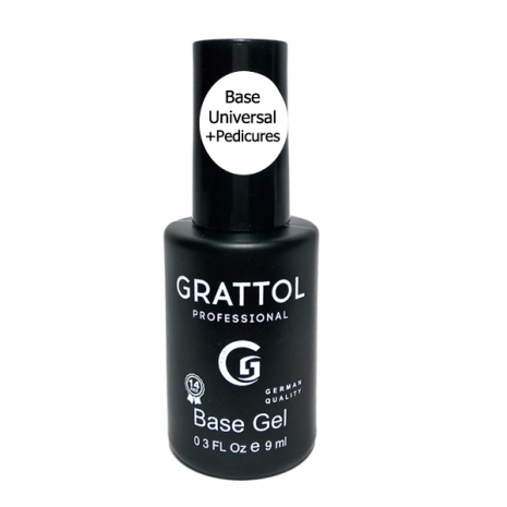 ( 9 мл ) База Каучуковая для гель-лака Grattol Rubber Base Universal+Pedicures