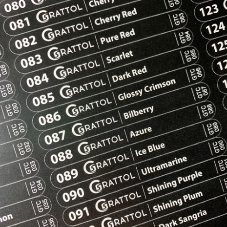 Наклейки с названием оттенка на веерную палитру Grattol