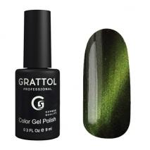 Гель-лак Grattol Crystal 003 Green - Топ кошачий глаз Зеленый, 9мл
